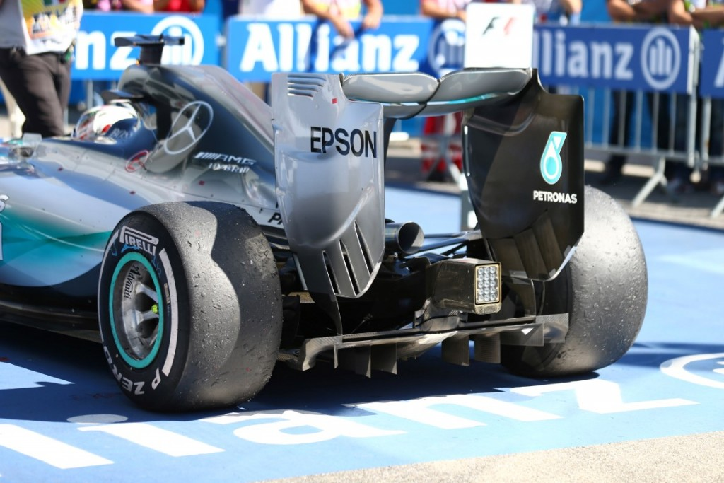 Formula One World Championship 2015, Round 12, Italian Grand Prix, Monza, Italy, Sunday 6 September 2015 - Lewis Hamilton (GBR) Mercedes AMG F1 rear tyres.