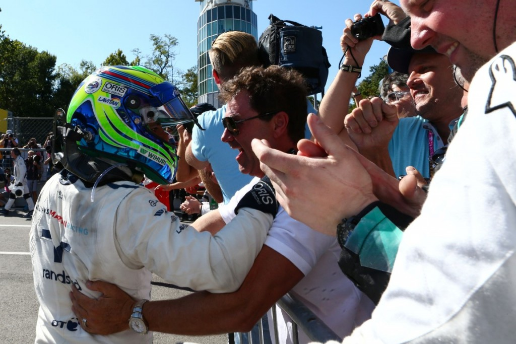 Formula One World Championship 2015, Round 12, Italian Grand Prix, Monza, Italy, Sunday 6 September 2015 - Felipe Massa (BRA) Williams celebrates his third position with the team in parc ferme.