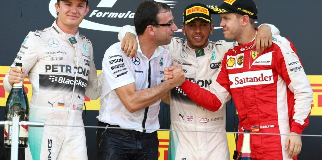 Formula One World Championship 2015, Round 14, Japanese Grand Prix, Suzuka, Japan, Sunday 27 September 2015 - st place Lewis Hamilton (GBR) Mercedes AMG F1 W06, 2nd place Nico Rosberg (GER) Mercedes AMG F1 and 3rd place Sebastian Vettel (GER) Ferrari SF15-T.